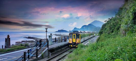 Scenery of Badouzi railway station in keelung city, taiwan