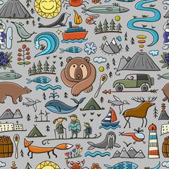 Fototapeta Travel to Peninsula Kamchatka. Eurasia, Russian Far East. Wild Nature and Animals. Seamless Pattern obraz