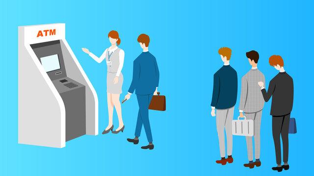 ATM queue and female advisor.