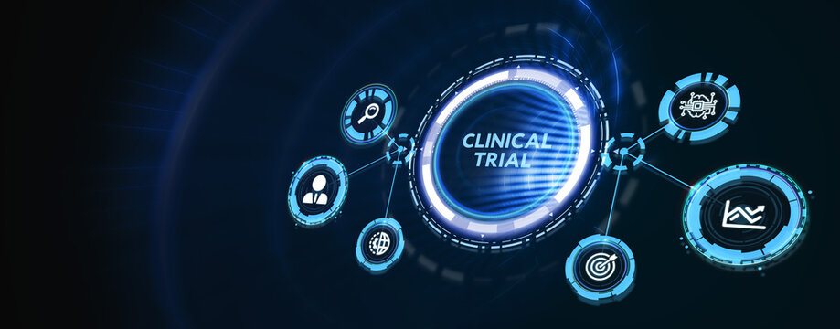 Business, Technology, Internet and network concept. virtual display: Clinical trial. 3d illustration