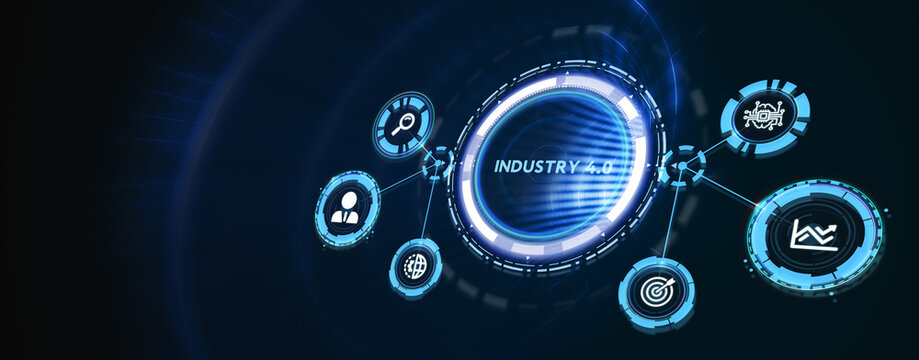Industry 4.0 Cloud computing, physical systems, IOT, cognitive computing industry. 3d illustration
