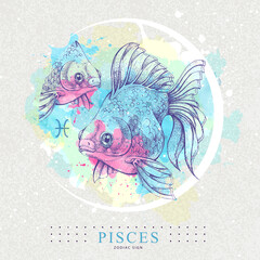 Fototapeta Modern magic witchcraft card with astrology Pisces zodiac sign. Healistic hand drawing Koi fish illustration obraz
