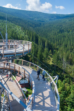 Swieradow Zdroj, Poland Lookout Tower in spa resort in the Izerskie Mountains in Poland