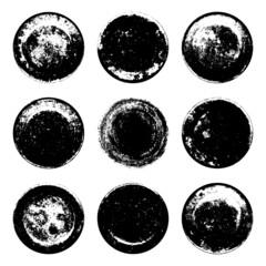 Fototapeta Set of black grunge texture round shape isolated on whiteSet of black grunge texture round shape isolated on white background. Grainy textured design elements. Vector illustration, eps 10. obraz