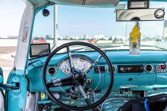 HAVANA, CUBA - Feb 18, 2020: Details of convertible American cars that roll through the streets of  Havana, Cuba