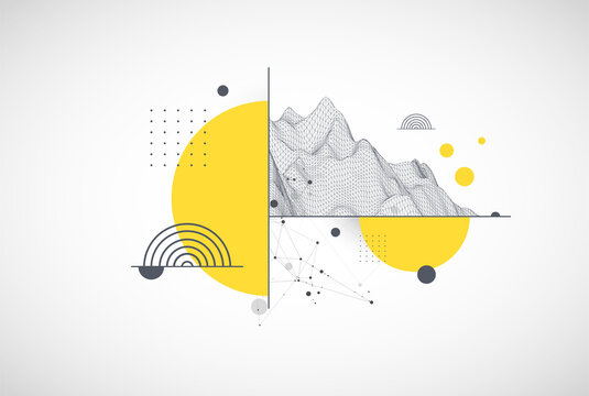 Trendy abstract wireframe background. Modern science or technology art elements. Surface illustration. Vector.
