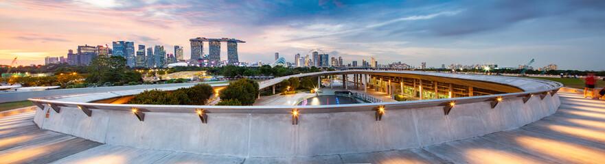 SSINGAPORE, SINGAPORE - MARCH 2019: Vibrant Singapore skyline at night