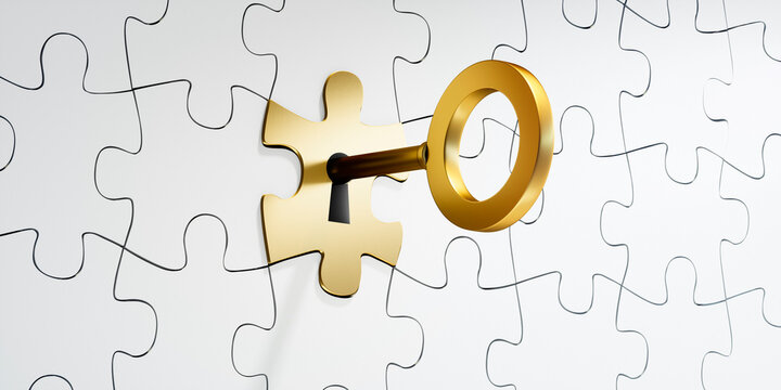 White and golden puzzle pieces with golden key - 3D illustration