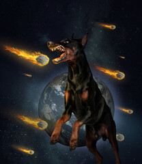 Contemporary art collage of doberman in a jump isolated over space background