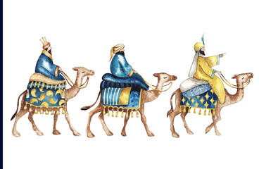 Three Wise kings following the Star of Bethlehem watercolor illustration