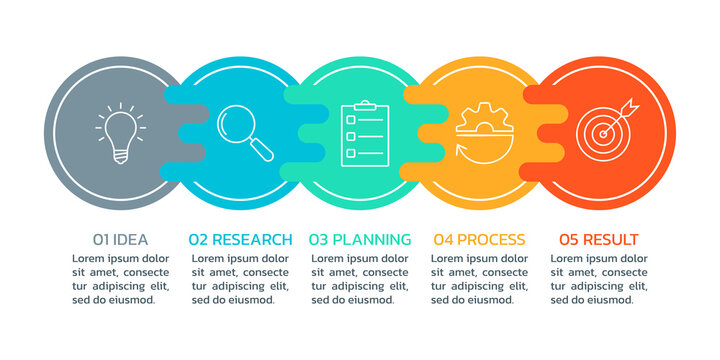 5 steps infograph. Business process, presentation, layout template. Chart, timeline info graphic, diagram with circles and modern icons. Vector illustration.