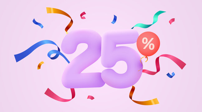 25 percent Off. Discount creative composition. 3d sale symbol with decorative confetti. Sale banner and poster.