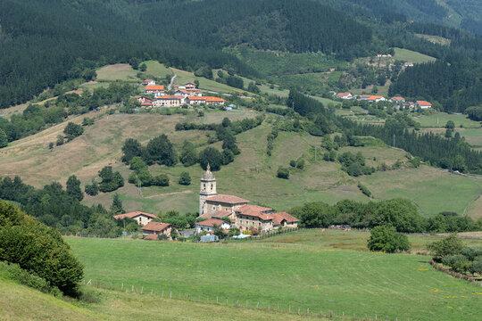 Uribarri neighborhood in Aramaio valley, Basque Country in Spain