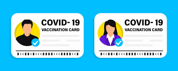 Obraz Covid-19 vaccine passport. Vaccination certificate, medical card or passport for travel in time pandemic. Vector illustration of vaccination card, Male and female. International immunity certificate - fototapety do salonu