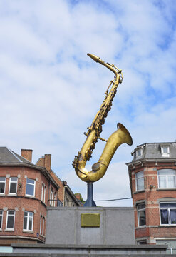 Dinant, Belgium monument of Adolphe Sax, inventor of the music instrument