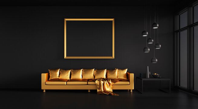 Black  lounge room with golden sofa