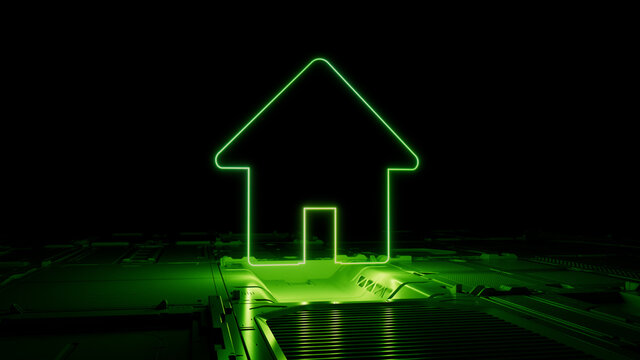 Green neon light home icon. Vibrant colored Internet technology symbol, on a black background with high tech floor. 3D Render
