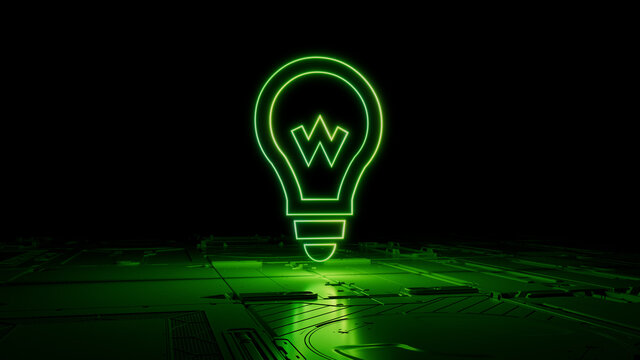 Green neon light lightbulb icon. Vibrant colored Innovation technology symbol, on a black background with high tech floor. 3D Render