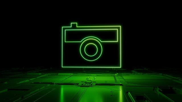 Green Photo Technology Concept with camera symbol as a neon light. Vibrant colored icon, on a black background with high tech floor. 3D Render
