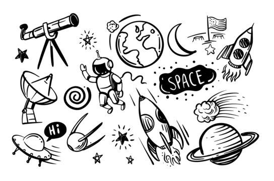Hand drawn vector doodles cartoon set of space