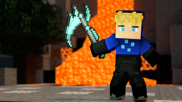 LANDSBERG AM LECH, GERMANY - Jul 01, 2020: Minecraft player in front of lava holding a scythe in his arm