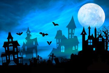 Haloween - opuszczone domy przy cmentarzu z nietoperzami i księżycem w pełni.