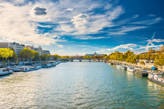 Paris cityscape with view over Seine river on Grand Palais and Pont Alexandre III. Paris, France
