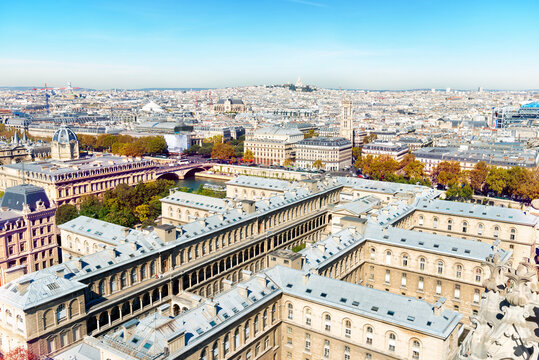 Paris cityscape with  aerial architecture, roofs and city view
