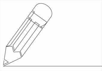 Continuous one line drawing pencil vector illustration isolated vector