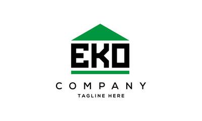 EKO three letter house for real estate logo design