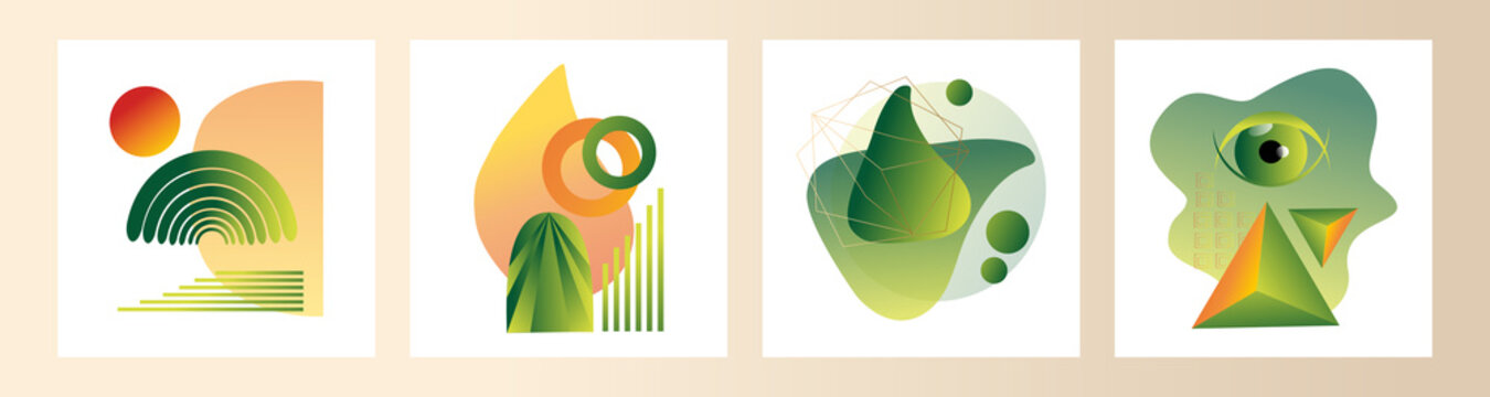 Modern set of abstract gradient compositions for logos, designs, highlights in green and orange colors. Vector trending abstraction of shapes and geometry, minimalism