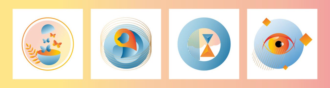 Modern set of abstract gradient compositions for logos, designs, highlights in orange and blue colors. Vector trending abstraction of shapes and geometry, minimalism