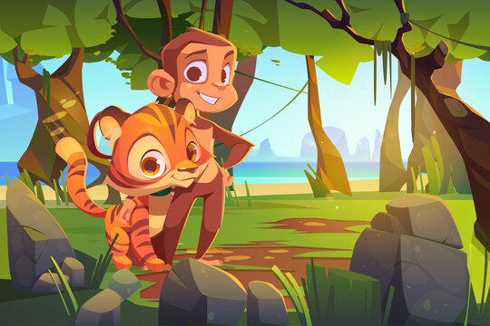 Cute monkey and tiger stand together in jungle. Vector cartoon illustration of rainforest landscape with green trees, stones, sea and wild animals. Funny friends ape and tiger in tropical forest