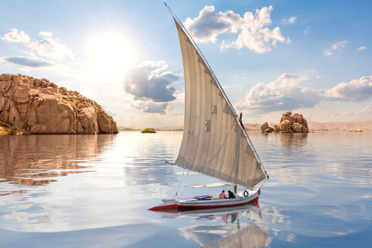 Felucca and islands by the Nile, Aswan, Egypt