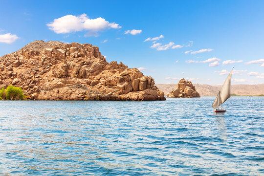 The Nile view, islands in the Lake Nasser, Aswan region, Egypt