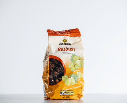 Paris, France - Jul 30, 2017: package containing Rosinen translated as raisins manufactured by german bio organic brand Alnatura