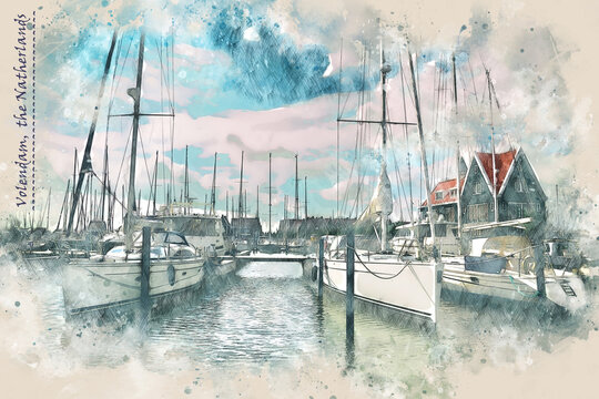 yacht harbor in Volendam, the Netherlands,  in watercolor sketch style