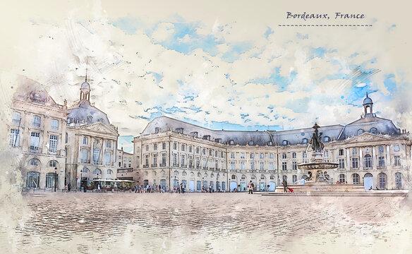 city life of Bordeaux city, Place de la Bourse in sketch style