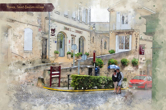 countryside  of Bordeaux region, France, in watercolor sketch style