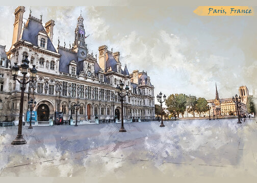 city life of Paris in sketch style