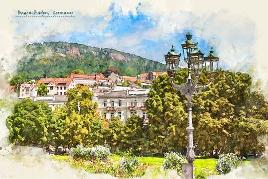 town Baden-Baden, Germany,  in sketch style