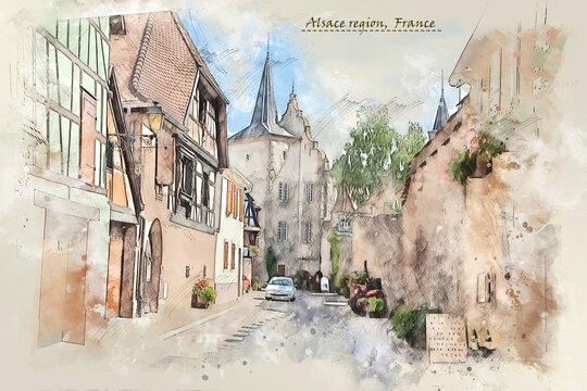 countryside of Alsace region, France,  in watercolor sketch style