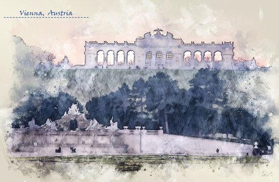 Schonbrunn Palace in Vienna, sketch style
