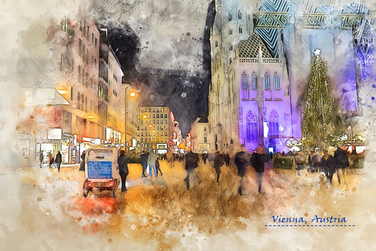 city life of Vienna, Austria,  in sketch style