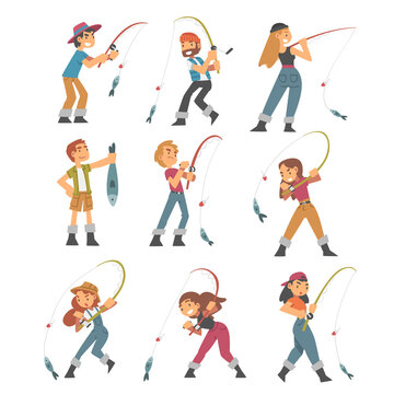 People Character in Fisherman Boots with Angling Rod Fishing Vector Illustration Set