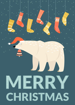 Christmas card template with funny bear wearing Santa hat with bell and socks.