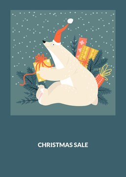 Christmas sale postcard template with funny bear wearing Santa hat with gift box.