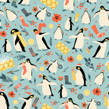 Christmas seamless pattern with funny penguins in Santa hats, gifts, socks.