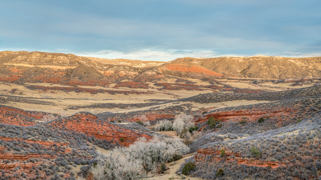 November sunset over Red Mountain Open Space in northern Colorado as seen from K-Lynn Cameron Trail