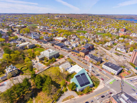 Massachusetts Avenue aerial view including First Parish Unitarian Universalist church and Town Hall near Mystic Street in historic town center of Arlington, Massachusetts MA, USA.